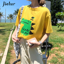 Jielur Cute Cartoon Dinosaur Printed T-shirts for Women 2019 Korean Style White Yellow Female T-shirt Summer New Cotton Tops