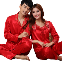 dfb0ad917c Casual Lovers Sleepwear Autumn Red Pajama Couple Pijama Suit Satin 2 Piece  Shirt Pant Sleep Set