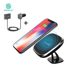 NILLKIN Qi car wireless charger charging Pad with 4 Port quick charge 3.0 car charger For iPhone X/8/8 Plus for Samsung S9 S8 S7