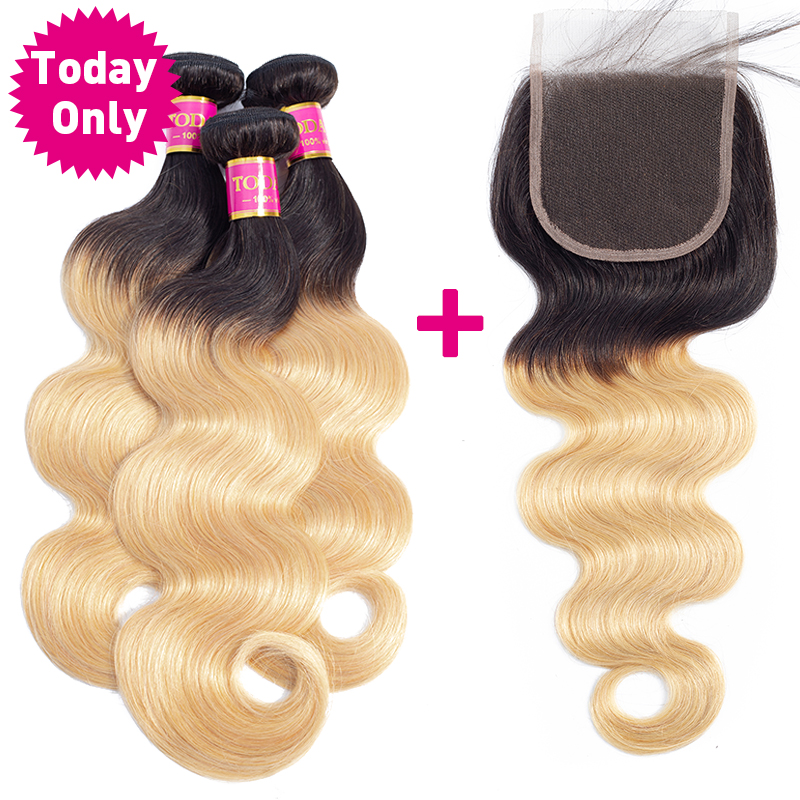 TODAY ONLY Brazilian Body Wave 3 4 Bundles With Closure Brazilian Hair Weave Bundles Ombre Human