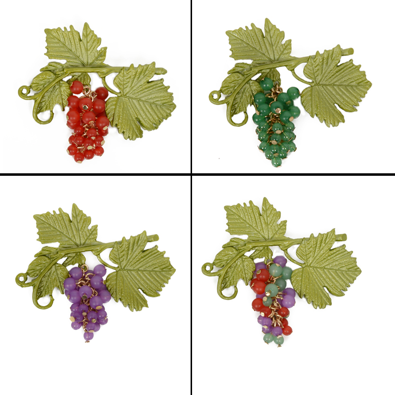 Jewelry Brooches Vintage Brooch Purple Grape Green Leaf Branches Brooches Ladies Prooch Pins Set