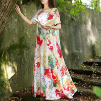 Hisenky 2019 Summer Maxi Dress Soft Vintage Shirt Dress Women Long Dress Short Sleeve Sundress O neck Vestidos Floral Robe Femme