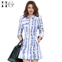 2016 New Arrivals Spring Print Elegant Slim Double Breasted Women Trech Coat Casual Turn Down Collar
