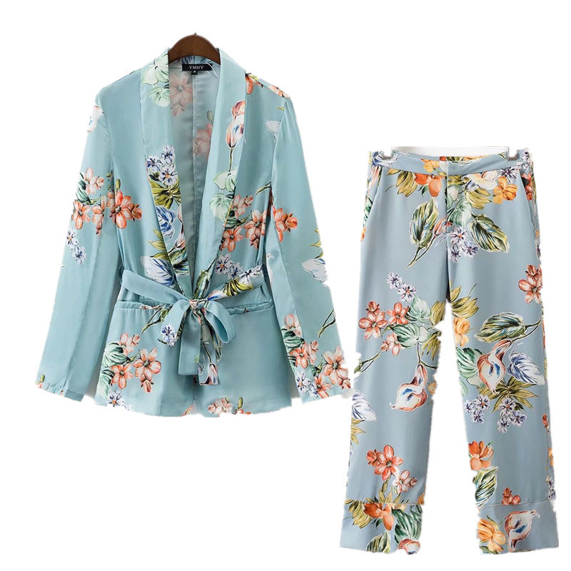2 Piece Set Suit Female European Style Holiday Suit Flower Pattern Fashion Casual Suit Long-sleeved Pajamas Jacket + Pants Suit