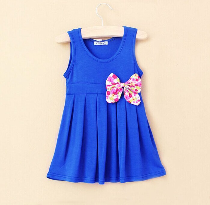 Wholesale Simple 11Colors 2 6Y Summer Gilrs Cotton Dress Girls Bow ...