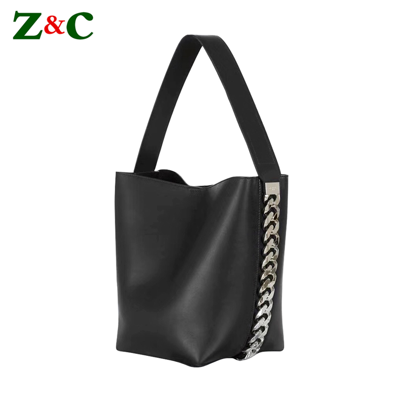 Luxury Brand Female Handbags Big Chain Bucket Bag Striped Single Shoulder Bag Women Solid Totes Famous Design Lady Shopper Bags famous brand unique design beach bag nets bucket bags female handbags hollow bao bao women shoulder bags summer totes bag tassel