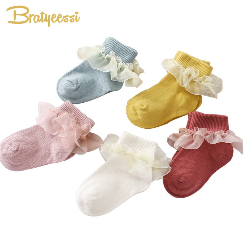 Princess Baby Socks For Girls Ruffles Lace Cotton Newborn Sock Mix Colors Baby Girl Socks Toddler Infant Gift 3 Pairs/Lot