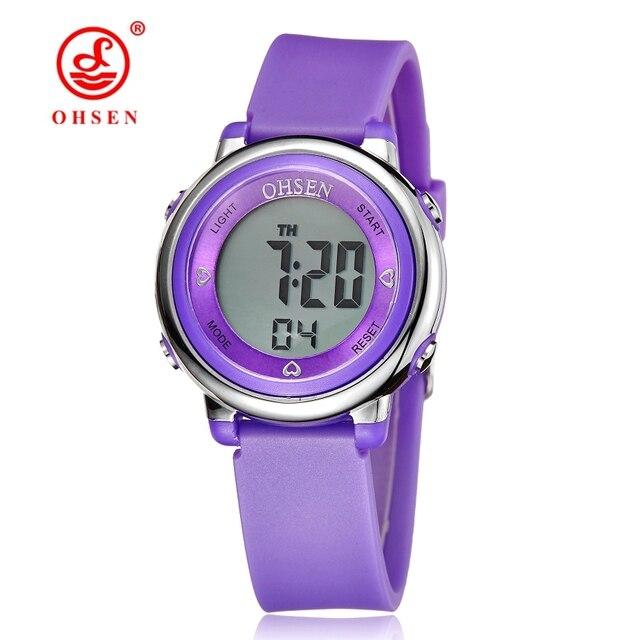 Известный бренд ohsen девушки женщин спорт цифровой жк смотреть 50 м дайвинг фиолетовый наберите силиконовый ремешок мультфильм дети наручные часы малыш подарок