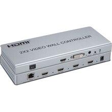 Видео настенный контроллер 2x2 видео настенный Процессор Поддержка DVI или HDMI вход в 4X HDMI выход с аудио и RS232 управлением