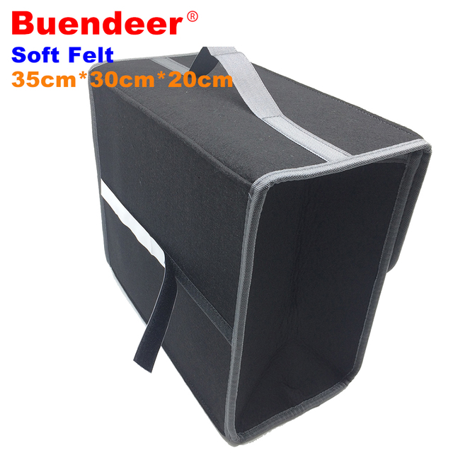 Buendeer 2018 New 35*30*20cm Car Trunk Organizer Storage Box High Quality Wool Felt Fabric Home Portable Storage Bag Dark Gray