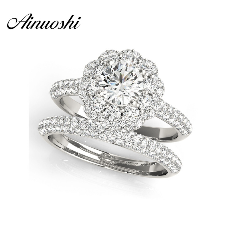 AINUOSHI Trendy 925 Sterling Silver Engagement Flower Bridal Ring Sets Wedding Anniversary 0.5 Carat Round Cut Halo Ring Sets ainuoshi trendy 925 sterling silver women wedding engagement ring halo 0 5ct emeralded cut ring aniversary gifts anillo de plata