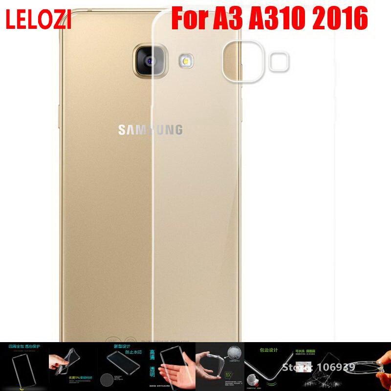 LELOZI Soft Transparent TPU Clear Silicone Fundas Etui Case Cover Coque For Samsung Galaxy A3 A310 2016 A 3 A310F Protective