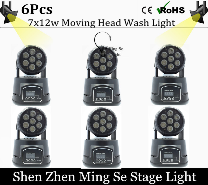 Fast Shipping 6pcs/lots  CREE 7x12W RGBW quad mini led wash moving head light LED stage lights Mini LED Moving Head 14 channels