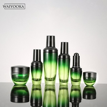 Mode vert dégradé verre bouteille rechargeable maquillage bouteille pot coiffeuse organisateur soins de la peau outils de stockage pour BB crème