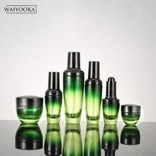 אופנה ירוק שיפוע זכוכית בקבוק Refillable איפור בקבוק צנצנת שולחן איפור ארגונית עור טיפול אחסון כלים עבור BB קרם
