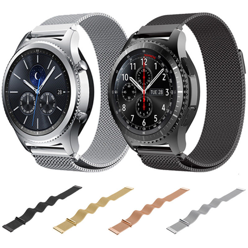 22mm Magnetic Closure Milanese Strap for Samsung Gear S3 Frontier Band for Samsung Gear S3 Classic Stainless Steel Watchband 5 colors magnetic closure clasp milanese loop watch band for samsung galaxy gear s2 classic stainless steel strap bracelet