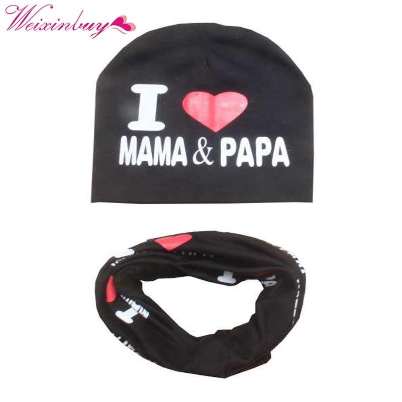 Baby Hat Set I Love Mama Papa Print Cotton Cap Winter Hats Newborn Children Scarf Collar Boys Beanie Kids Cap