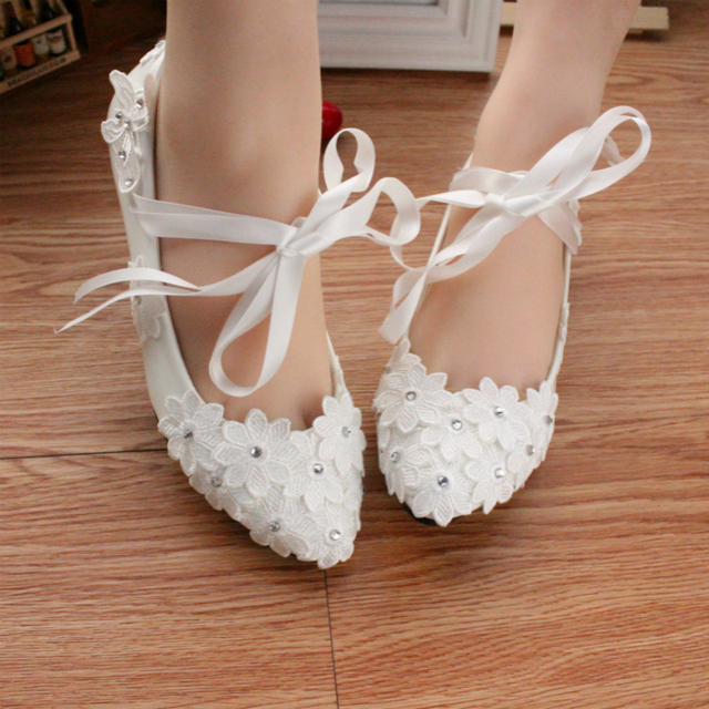 Aliexpress Buy Women Lace Shoes White Bridal Shoes Wedding Shoes Ribbon Flat Shoes Ballet