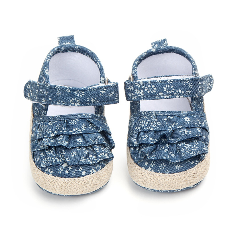 Blue Summer Denim Princess Shoes For GirlSoft Soled Baby GirlShoes First Walkers