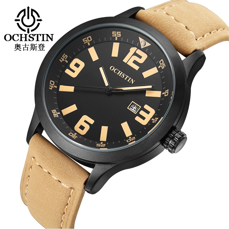 OCHSTIN Watch Men Reloj Hombre Fashion Sports Male Clock Watch Leather 3ATM Waterproof Men Hour for