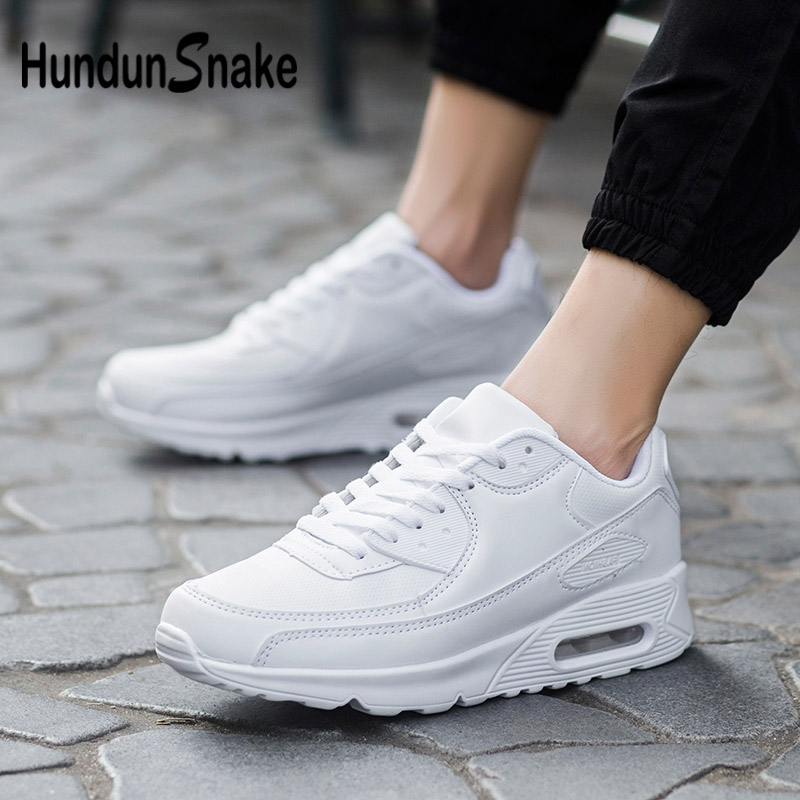 Hundunsnake Leather Mens Running Shoes Air Cushion Women Sneakers Man White Tennis Man Shoes Athletic Chaussure Homme 2018 G-28