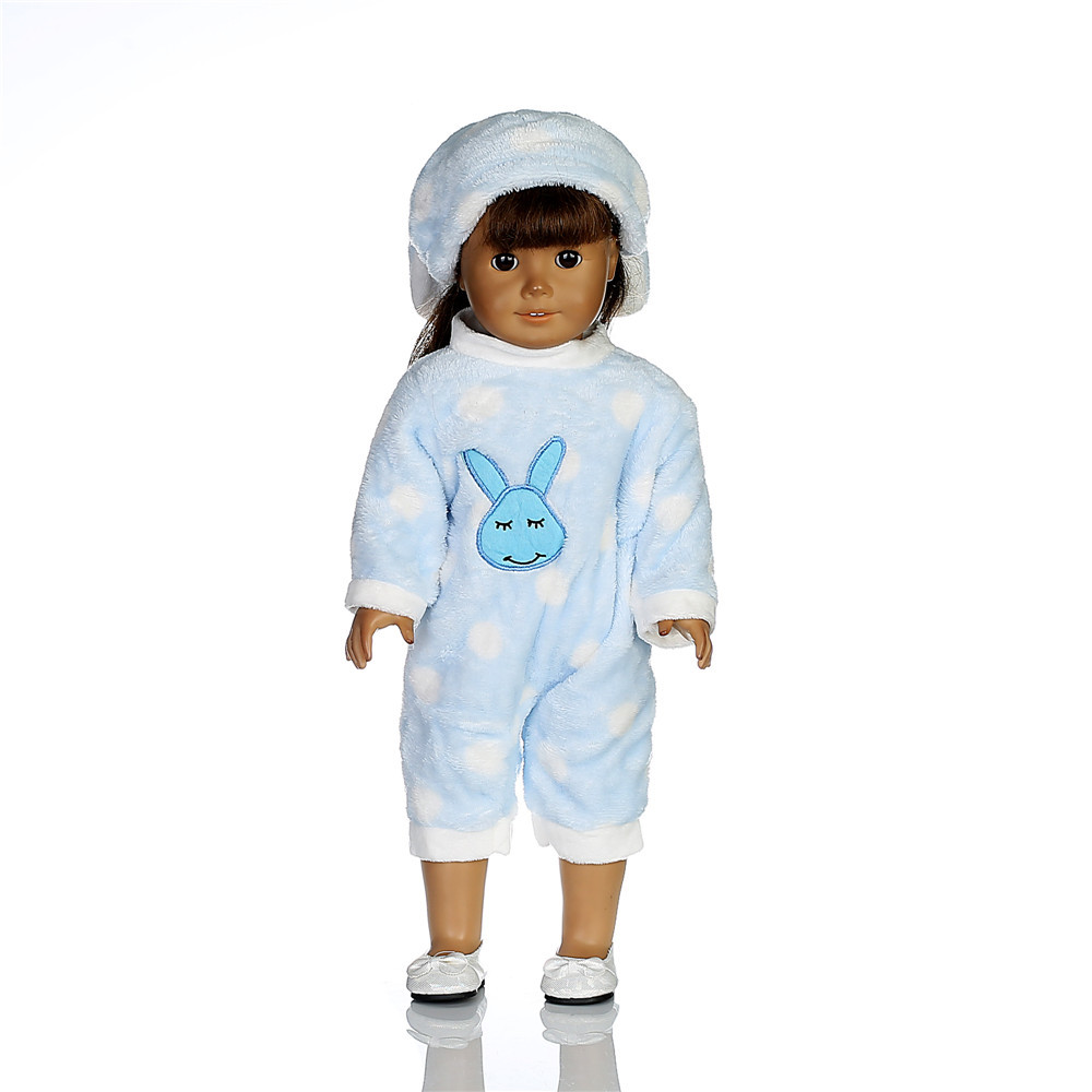 Rabbit Hat jumpsuits Doll Clothes Wear fit 18 inch 43cm Children best Birthday Gift N282 in Dolls Accessories from Toys Hobbies