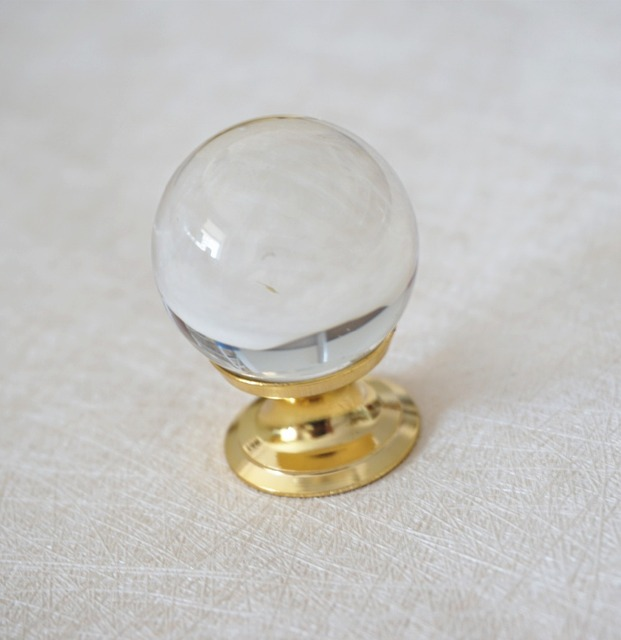 Glass Dresser Knobs Drawer Knobs Pulls Handles Clear Gold / Crystal Cabinet  Knobs / Kitchen Knob