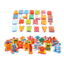 MINI 26st Engelska bokstäver Robot Deformation Alfabet Transformationer Pussel Sammansatt Födelsedag Xmas Presenter Barn Leksaker