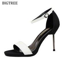 Белое золото sandalias mujer металлического цвета Летняя обувь на тонких высоких каблуках для женские босоножки пикантные женские платья для вечеринки и свадьбы обувь