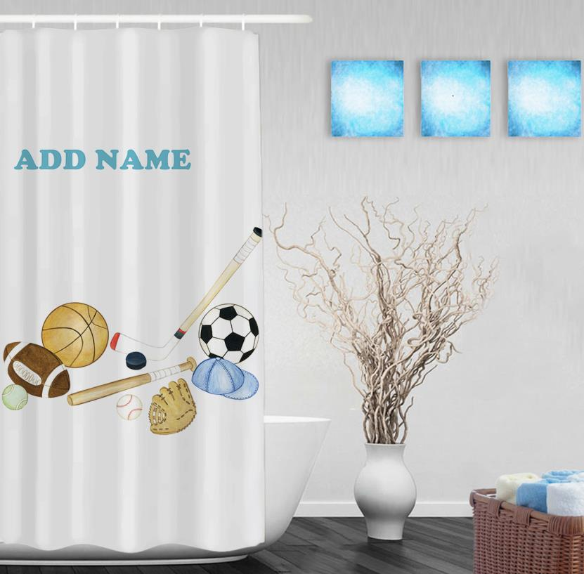 Personalized Sports Shower Curtain Baseball Football Basketball Decor  Bathroom Curtains Polyester Fabric CafeTime In Shower Curtains From Home U0026  Garden On ...