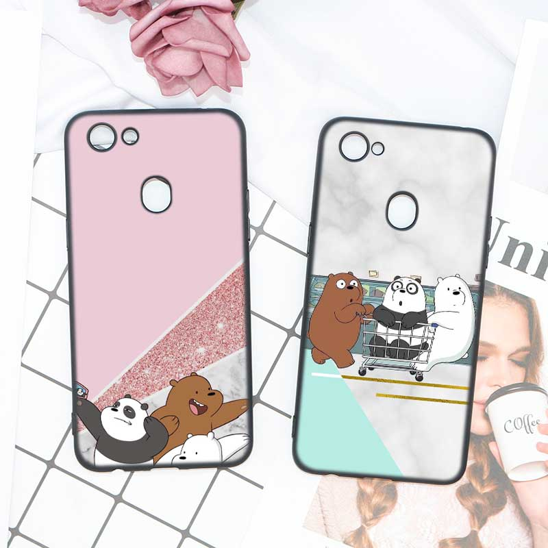 Black Soft Silicone High Quality Phone Case Marble We Bare Bears Marble Style For OPPO F5 F7 Phone Cases Covers