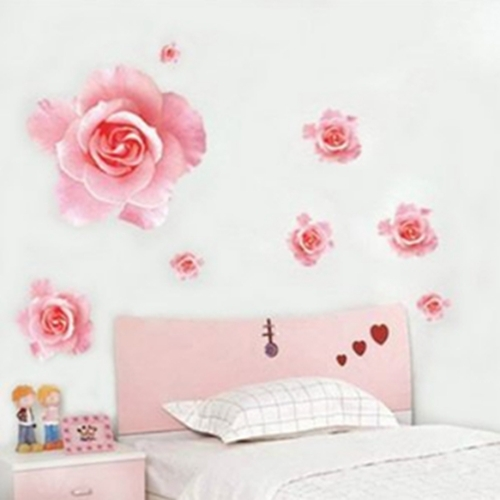 Welcome to our home fashion wall sticker 3d pink rose for Our home decor