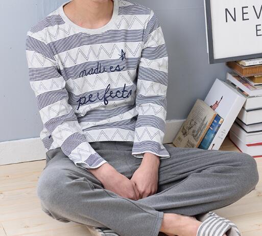 2016 del otoño del oro chinos hombres robe pijamas set de manga larga pijama de algodón traje masculino camisa y pantalón ropa de dormir bata de baño