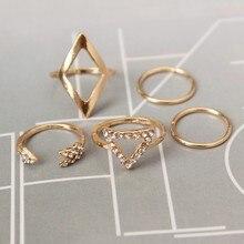 European and American fashion joker set crystal arrowhead triangular joint 5 sets of rings wholesale