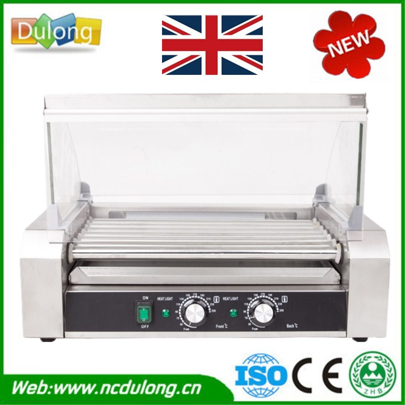 New Design Stainless Steel Hot Dog Grill Machine Roast Sausage Grill Maker Cooker 11 Rollers 220v 600w 1 2l portable multi cooker mini electric hot pot stainless steel inner electric cooker with steam lattice for students