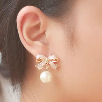 Premium New Fashion 1 Pair Women Earrings Lady Charming Pearl Ear Studs Cute Pink Bowknot Earring Women Jewelry Gift Bijoux