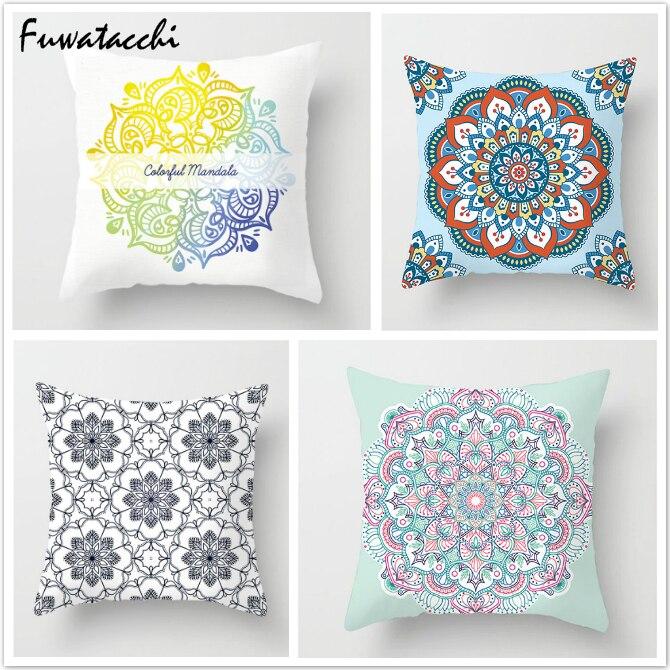 Fuwatacchi Mandala Printed Throw Pillows Cushion Cover Circle Floral Pillow Cover For Home Chair Sofa Decoration Pillowcases