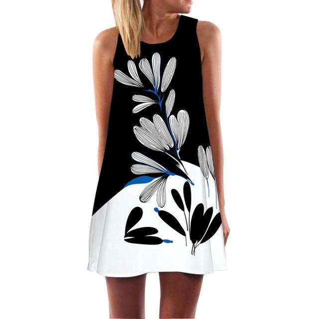 833a5cf8 US $6.44 28% OFF|Aliexpress.com: kup Damska bez rękawów Mini plaża sukienka  z nadrukiem seksowna czarny kwiat sukienka moda nowy styl długa ...