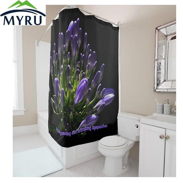 Myru European Style Creative Black Shower Curtain Purple Flower Polyester Bathroom Unique