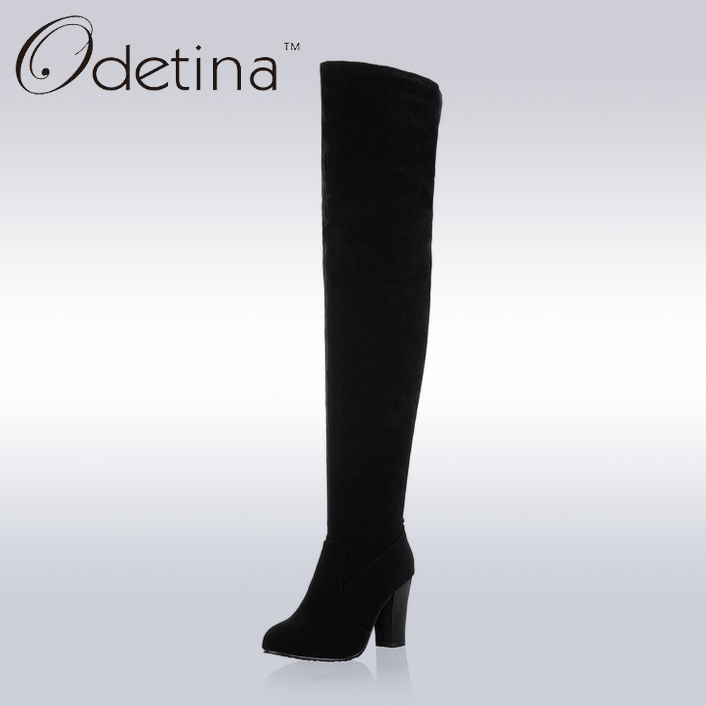 Odetina 2017 Handmade Winter Large Size Suede Over The Knee Boots Women High Heel Black Zip Up Long Boots Chunky Heels Round Toe 2015 hottest drop shipping vintage round toe strappy zip knee high boots studs chunky heel leather boots women high heels j459