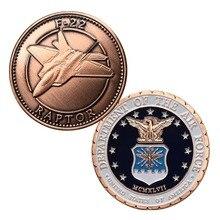 Питания Медь покрытием ВВС США F-22 Raptor ВВС США Военная Униформа вызов монета/медаль 5047