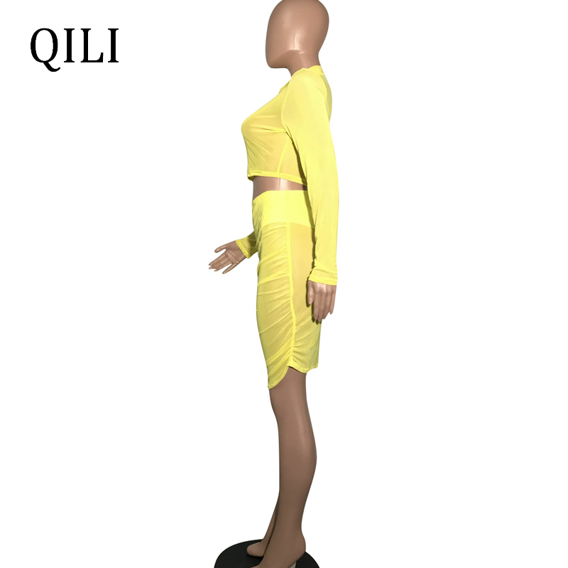 QILI Women Yellow Dress O Neck Long Sleeve See Through Mesh Knee Length Pleated Dresses Party Club Dress Two Piece Set in Dresses from Women 39 s Clothing