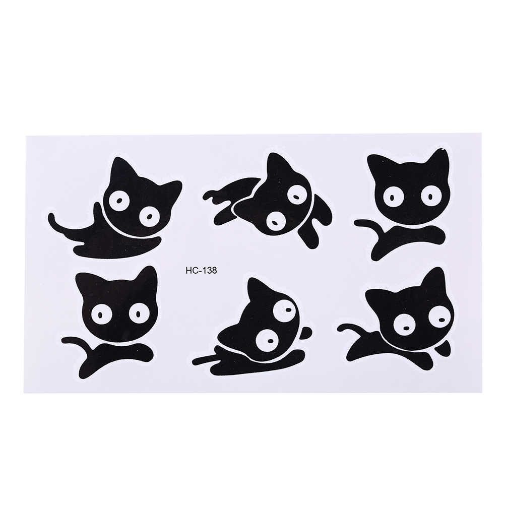Small Black Cat Waterproof Temporary Tattoos Temporales Temporary Body Arts Flash Tattoo Henna Men And Women Gifts