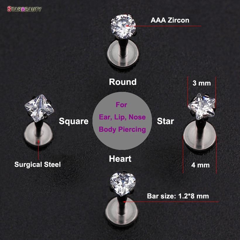 1 pz / lotto 16G Cuore Rotondo Stella Quadrata Kylie Lip Piercing AAA - Bigiotteria - Fotografia 3