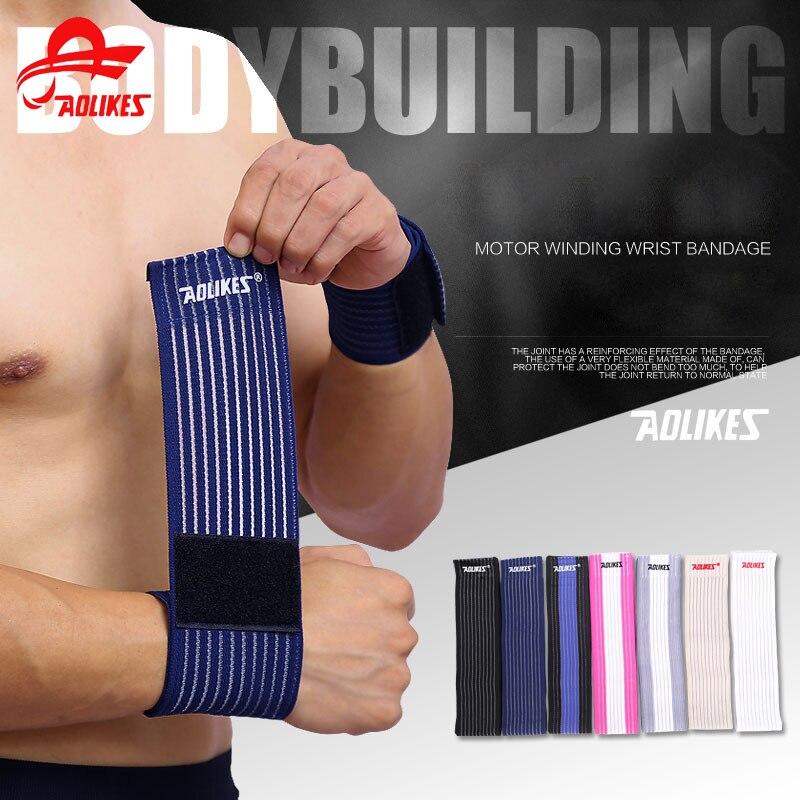 AOLIKES 1 Pcs cotton fitness elastic bandage hand wrist strap wrap sport wristband support gym wrist protector carpal tunnel