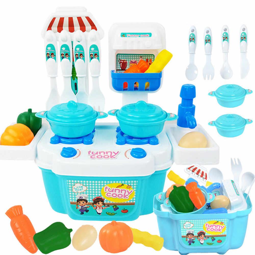 Venda quente Do Bebê Mini Brinquedos de Cozinha Simulação Pretend Play Crianças de Alimentos de Plástico Com Cozinha Crianças Cozinha Conjunto de Brinquedos Para Meninas jogos
