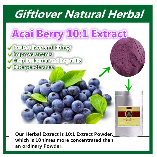 Pure Acai Berry Extract Powder,Protect liver and kidney, Improve anemia,Help leukemia and hepatitis, Anti cancer supplement