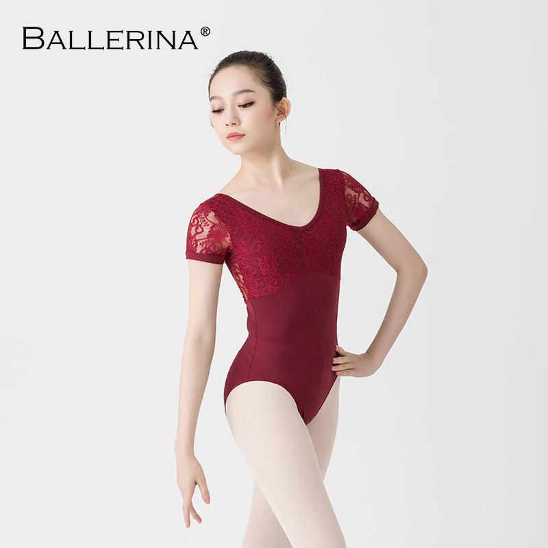 Ballet Leotards For Women Practice Short Sleeve Dance Costume Adulto Gymnastics Lace Leotards Ballerina 3527