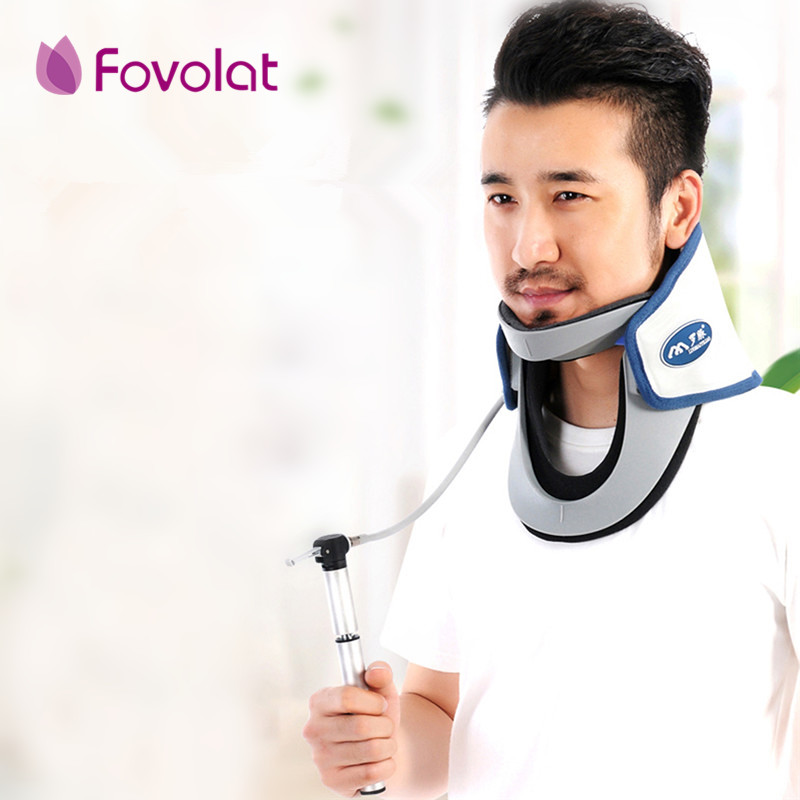 Brand Neck traction device household stretched cervical traction inflatable cervical spondylosis cervical collar hanging neck cervical traction apparatus with high quality household fixed cervical stretched neck massager massage pillow