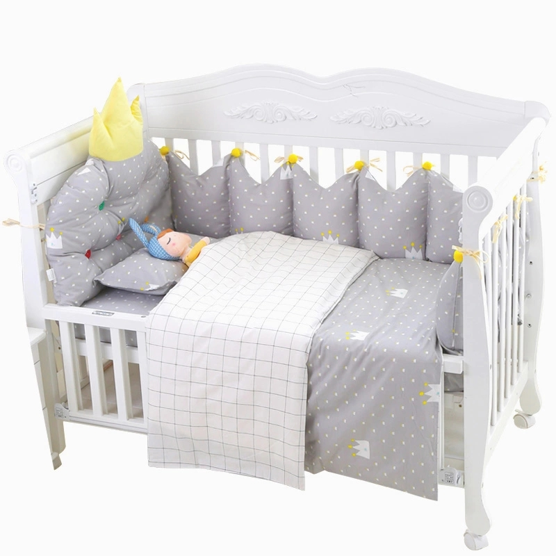 10Pcs Baby Bedding Set With Hanging Storage Bag Toddler Crib Bedclothes Baby Cot Safe Crown Shape Bumpers Sheet Quilt Pillow